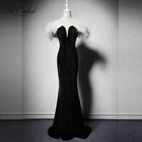 PEORCHID White Black Mermaid Evening Dresses With Feather 2019 Abiti Lunghi Da Cerimonia Long Sexy Ladies Evening Gown Arabian