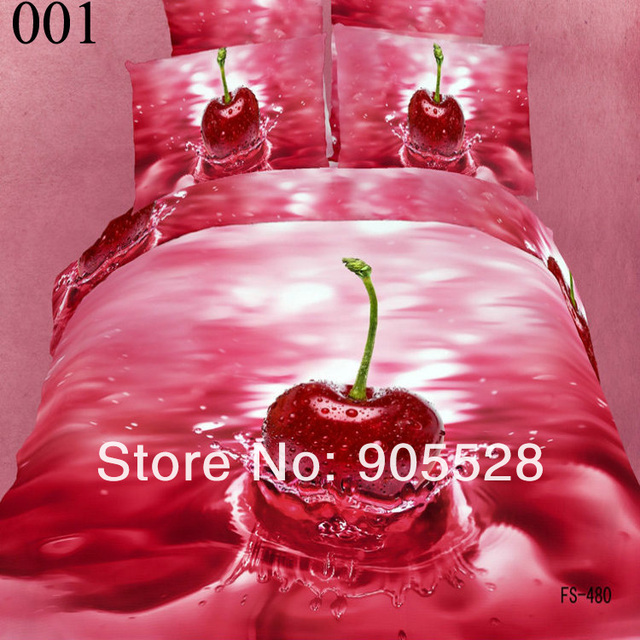 2013 100% quality luxury Fruit 3d personality fashion 100% cotton reactive print bedding 4pcs queen king duvet cover set