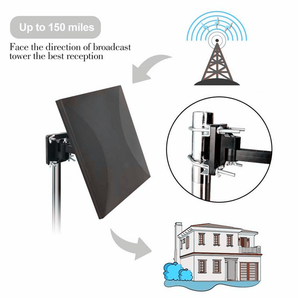 AH-LINK High Gain Digital HDTV Antenna 150 Miles Outdoor Indoor TV Antenna Signal Reception Amplifier Booster ATSC DVB TV Aerial lcd display high gain gsm 980mhz signal booster amplifier with cable yagi antenna