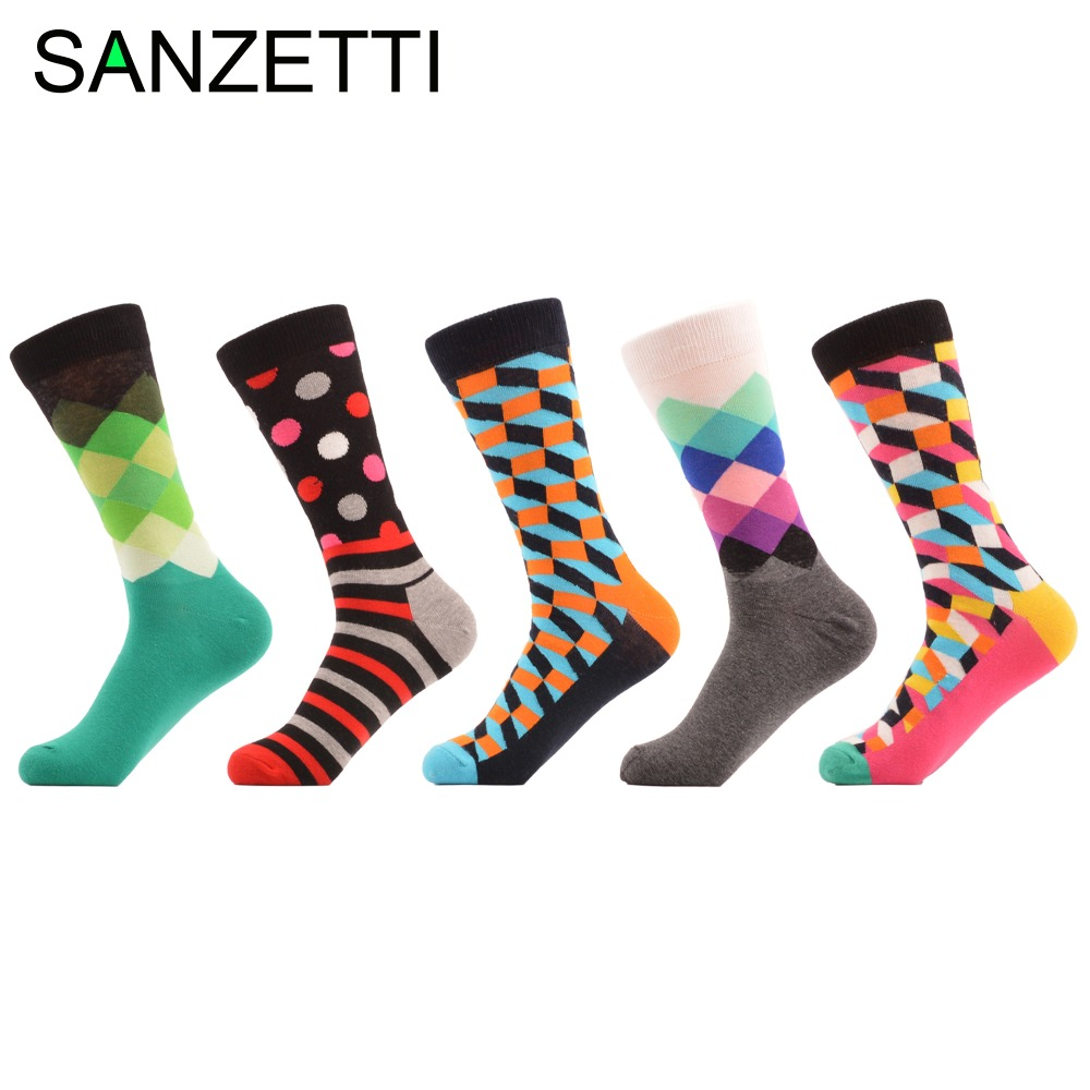 SANZETTI 5 pair/lot Colorful Stripe Dot Diamond Filled Optic Combed Cotton Men Socks Funny Long Socks Green Red Pink Winter Sock