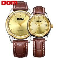 DOM Лидирующий бренд роскошные золотые кварцевые Для женщин Для мужчин часы женская одежда наручные Водонепроницаемый кожа любителей смотр