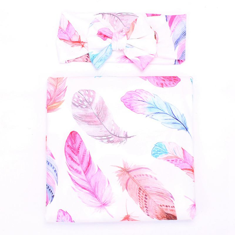 Newborn Baby Swaddle Floral Receiving Blankets With Hospital Headband Value Set Feather