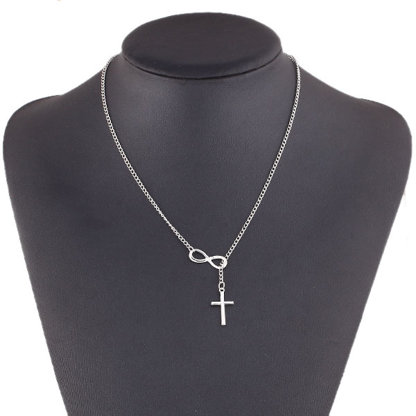 Fashion Casual Personality Infinity Cross Lariat Pendant Silver Plated Necklace Forever Faith Necklace Jewelry  FS99