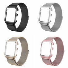 2in1 Milanese Strap For Apple Watch Band Magnetic Clasp With Case Protecting iwatch Watchband 38mm 42mm 40mm 44mm series 4 3 2 1 hot sale hoco 3 colors milanese band for huawei watch 42mm with magnetic closure and beautiful retail package