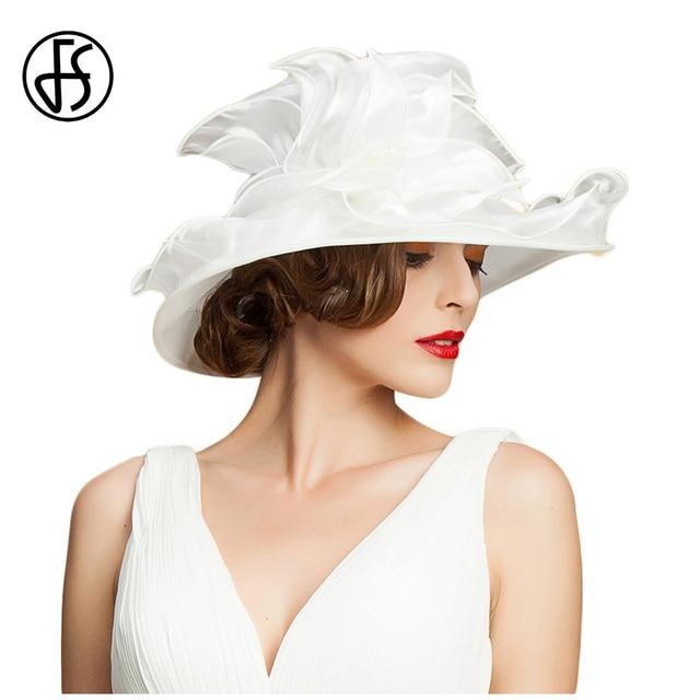 a839c88e690 FS White Hat Women Organza Summer Fedora Wedding Church Hats Black Elegant  Ladies Wide Brim Kentucky Fedoras With Flowers