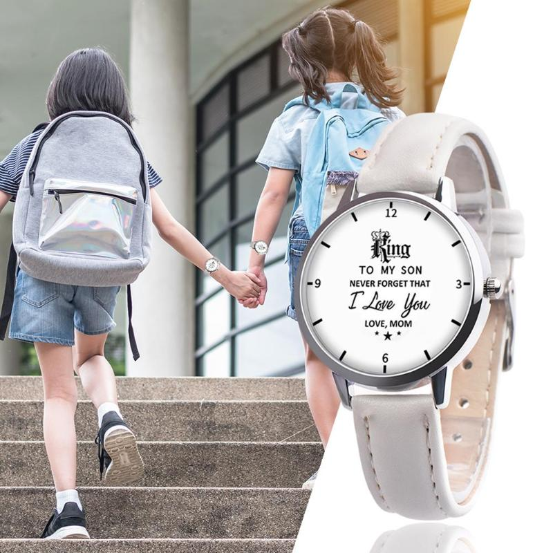 Letter Print Round Dial Quartz Watch Kids Leather Band Analog Wristwatch Cartoon Quartz Watches Girl Boy Child Gift Relogio