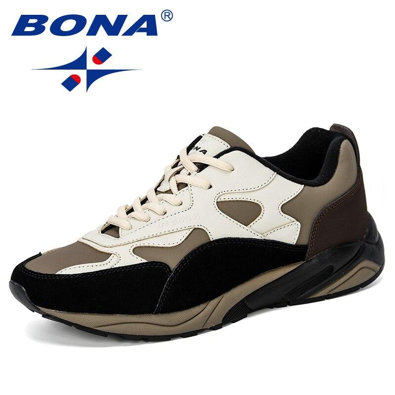 BONA 2019 nouveaux classiques Style hommes baskets chaussures homme grande taille chaussures de course en cuir chaussures pour hommes Sport chaussures de jogging en plein air