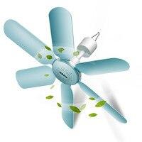 2018 Aux 7W 6 SHEET Super quiet soft wind mini mute home mini ceiling fan fan saving ABS hanging fan for home Blue220V