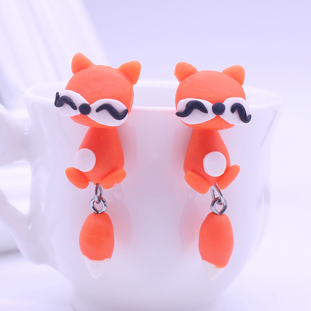 Handmade Cute Fox Polymer Clay Earrings