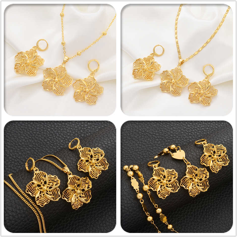 Anniyo Flower Jewelry Sets Pendant Necklaces & Earrings for Women Girls Gold Color Micronesia Guam Jewellery #017016