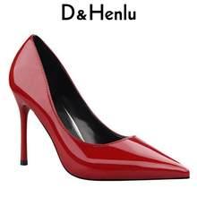 D   Henlu zapatos mujer marca mujeres básicas bombas Glossi charol zapatos  en Punta talón fino tacón alto brillo tacones de aguj. 160694dc40a5