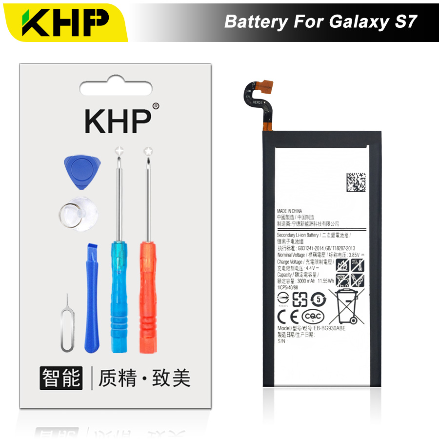 NEW 2017 100% Original KHP EB-BG930ABE Phone Battery For Samsung Galaxy S7 G930F G9300 G930 Battery Replacement Mobile Battery
