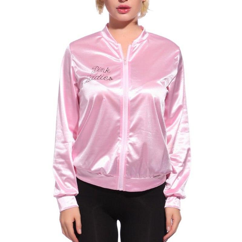 Pink Women Basic Coats Solid Tracksuit for Women Jacket Lady Retro Jacket Women Fancy Dress Grease Costume 2018
