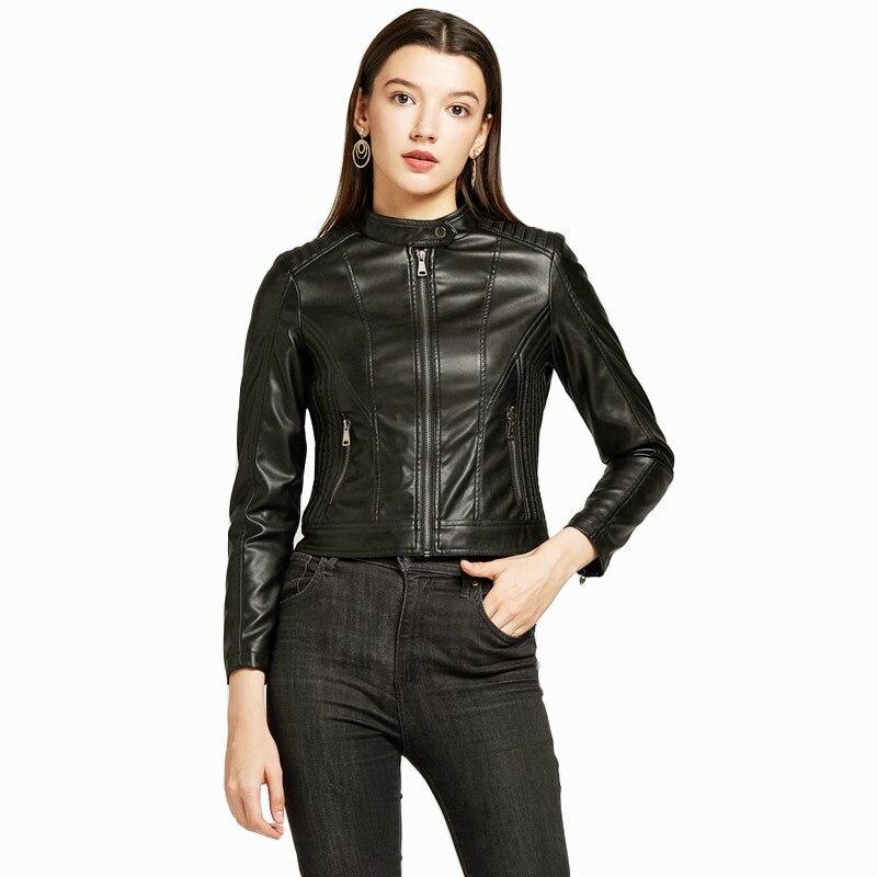 Mulheres Jaqueta de Couro Primavera Outono jaqueta Biker NXH Plus Size Fashion Faux casaco de Couro Rosa Suave jaqueta de couro Jaket