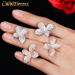 CWWZircons Rose Gold Color Micro Paved CZ Stone Flower Leave Simple Fashion Stud Earring for Women Famous Brand Earrings CZ436
