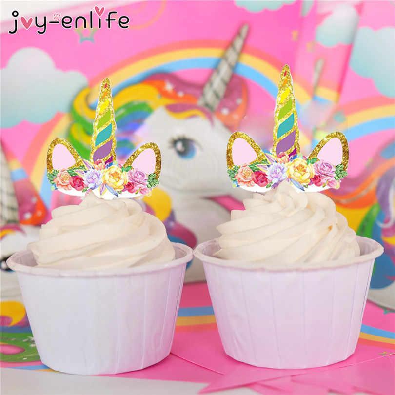 JOY-ENLIFE 12 шт Единорог Лошадь торт, топперы, капкейки для детей, день рождения, вечеринка, Декор
