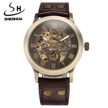 SHENHUA Automatic Mechanical Watches Men Retro Leather Analog Skeleton Men's Mechanical Wrist Watches gifts Relogio Masculino