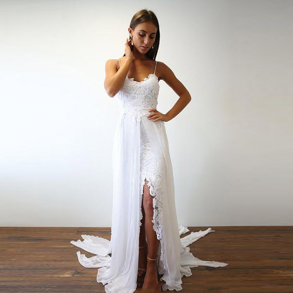 Spaghetti Straps Sexy Bride Dress Lace Wedding Dress 2018 Front Slit Backless Cheap High Quality Custom made in Wedding Dresses from Weddings Events