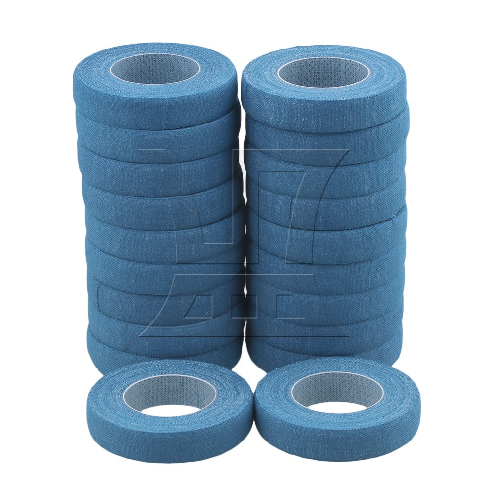 Yibuy  20pcs 500cm Blue Cotton Nail Finger Adhesive Tape For Guitar Guzheng Lute