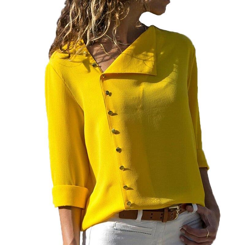 Verano 2018 moda Botón de manga larga Amarillo Blanco Mujer Tops y blusas Mujer túnica Oficina Chemise para Femme