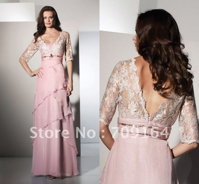 FM206 Fashion Lace Jacket Half Sleeve V Neck Pink Chiffon  Mother Of The Bride Dresses