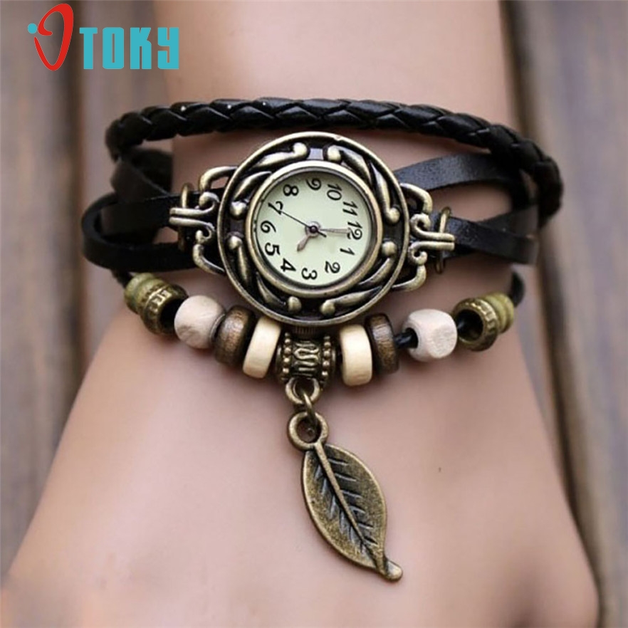Leather Bracelet Leaf Beads Women's Wrist Watch