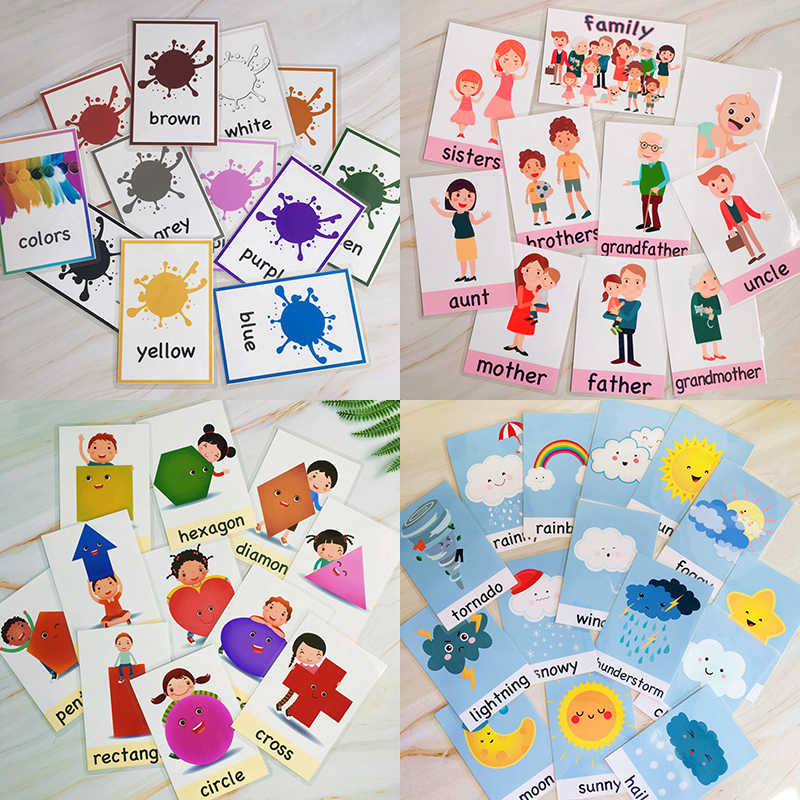 49Pcs/Set Color/Shape/Weather/Family English Word Card Flashcards Games Puzzle Learning Educational Toys for Children Montessori