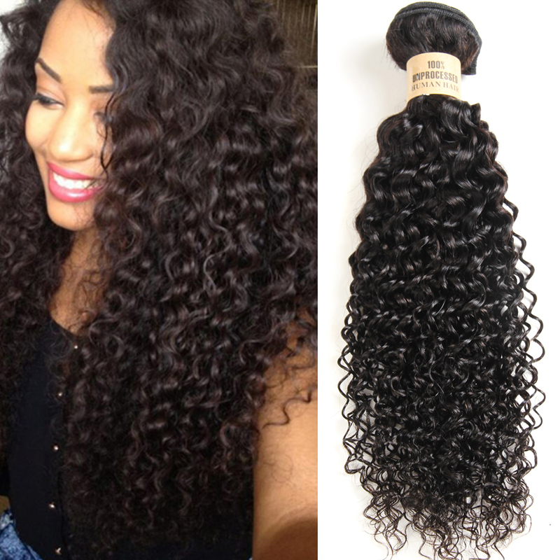 AISI HAIR Raw Brazilian Hair Kinky Curly Extensions Human Hair Weaving Bundles Natural Color 1 Bundle Non-Remy Free Shipping