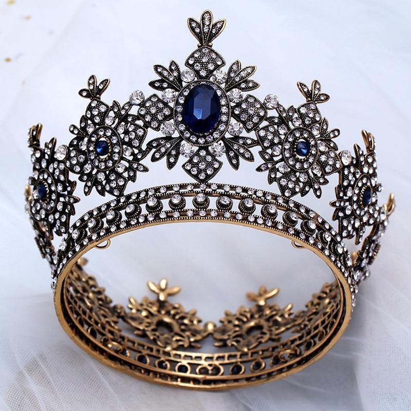 Vintage Baroque Upscale Black Wedding Tiaras Bridal Crowns Headwear Handmade Crystal Princess Bride Round Big Crown