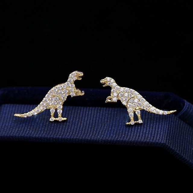 994d99e96 MIGGA Micro Paved Cubic Zirconia Dinosaur Animal Stud Earrings 925 Sterling  Silver Needles Women Brincos