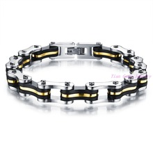 Silver Gold Black 3 layers 316L Stainless Steel Mens Bracelet Fashion Jewelry Bike Bicycle Bracelet Casual Jewellery