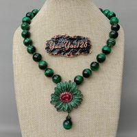 18 Round Green Tiger Eye Necklace CZ Pave Flower Pendant