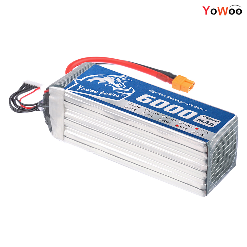 YOWOO Lipo 6s Battery 22.2v 6000mah 50C Max 100C Align RC Bateria Drone AKKU For Airplane Helicopter Quadcopter Car Boat Drone yowoo fpv 450 500 akku lipo battery 2s 3s 7 4v 11 1v 5000mah 50c max 100c for traxxas helicopter fpv 450 airplane quadcopter car