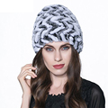 Russian Hot Real Rabbit Fur hat for Women Winter Warm Knitted Natural Rabbit Fur Hat Genuine Lady Casual Striped Beanie Hat H#10