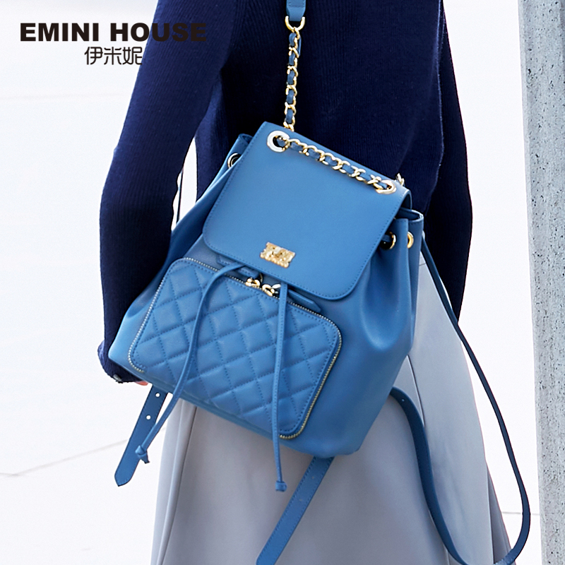 EMINI HOUSE Anti Theft Backpack Female Split Leather Drawing Travel Backpack For Girls Diamond Lattice Back Bag For Teenagers
