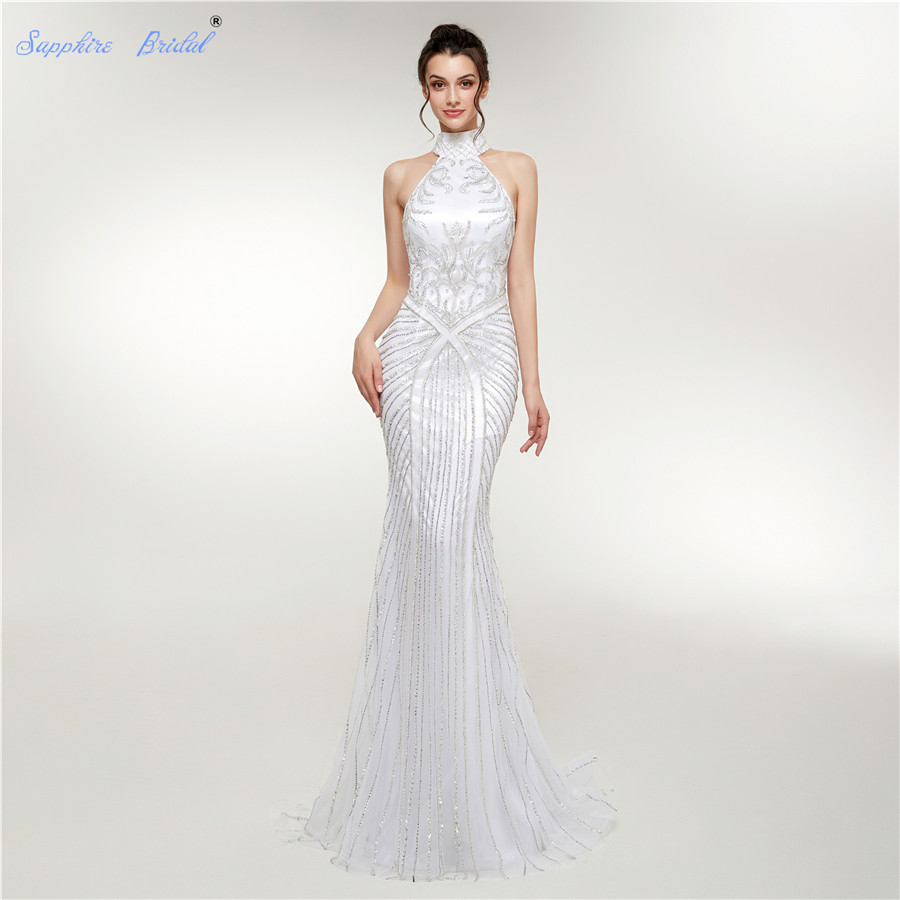 Sapphire Bridal Sexy High Neck Formal Party Gowns White Top End Beaded Vestido De Festa Mermaid   Evening     Dress   With Back Key Hole