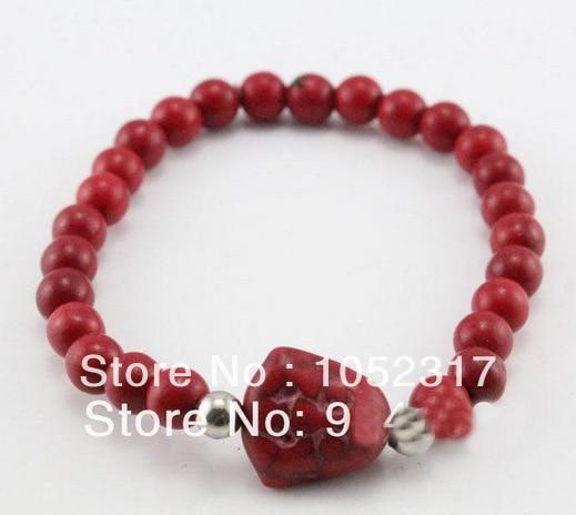 Bán buôn 10 cái Màu Đỏ San Hô Bead Khắc Phật đầu Vòng Đeo Tay Điều Chỉnh Đẹp Woman Đảng Gift