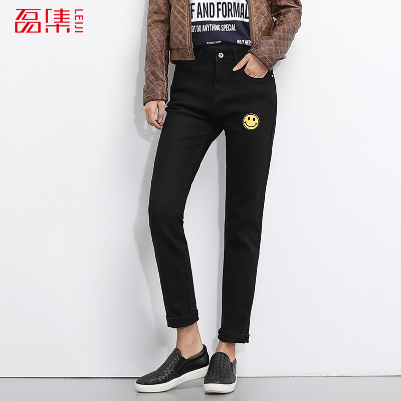 2017 LEIJIJEANS New arrival trouser for women demin mid waist low elastic jeans women loose straight S-6XL plus size black jeans 2017 leijijeans jeans women mid elastic dark blue plus size jeans with embroidery pants full length loose style straight fat mm