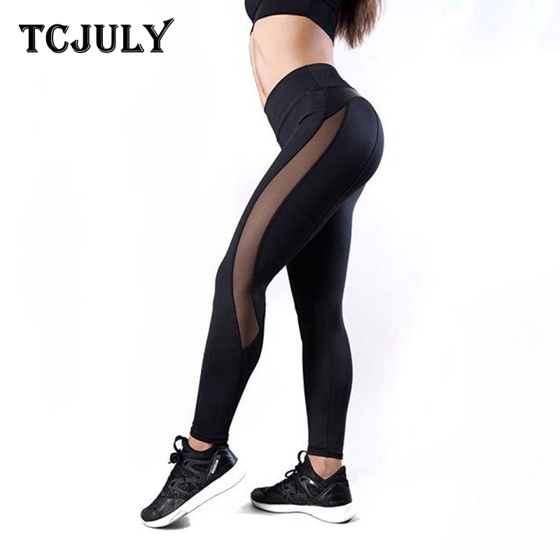 TCJULY New Knitted Activewear Mesh Leggings High Waist Push Up Work Out Clothing Women Skinny Breathable Elastic Fitness Legging