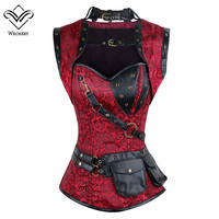 Wechery Steampunk Corset Sexy Rivet Retro Punk Red Women Corsets High Quality Vintage Posture Cosplay Show Gorset Dance Party