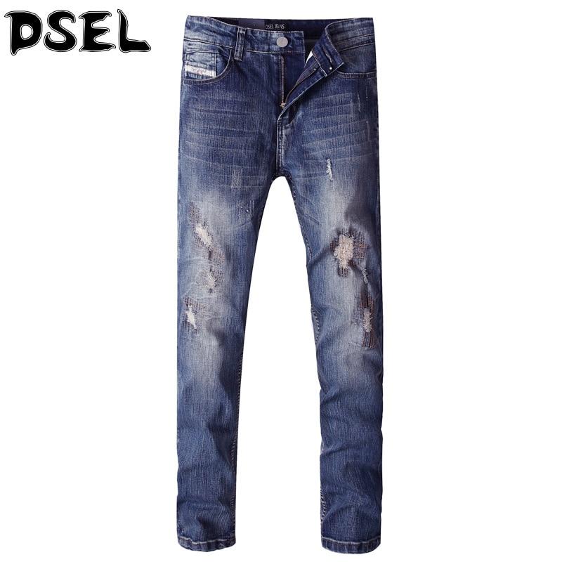 DSEL Brand Men Jeans Slim Fit Denim Stripe Men Pants Destroyed Ripped Jeans For Men Summer Style Stretch Skinny Biker Jeans patch jeans men slim skinny denim blue jeans ripped trousers famous brand dsel jeans elastic pants star mens stretch jeans w701