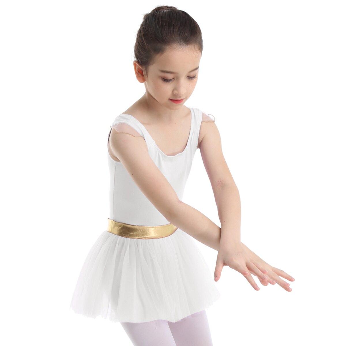 Girls Gold Waist Ballet Dance Gymnastics Leotard Tutu Dress Kids Mesh Dancewear