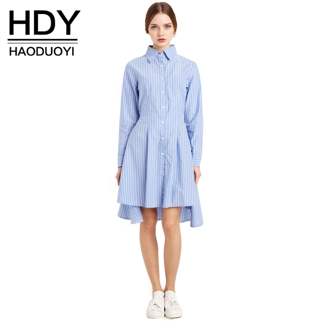 25e00e3ee712 HDY Haoduoyi 2017 New Fashion Women Preppy Style Tie Waist High Low Casual  Single Button Long