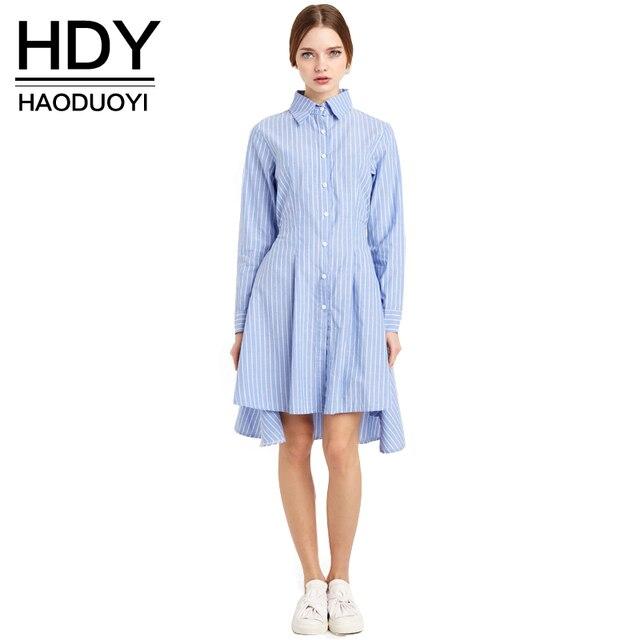 Hdy haoduoyi 2017 nuevas mujeres de la moda estilo de muy buen gusto corbata de cintura alta baja solo botón casual camisa a rayas de manga larga dress
