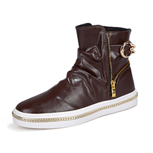new arrival mens fashion boots zip model have nice chains around bottom Korean trend cool boots youth boys cool high top shoes