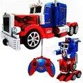 Optimus prime transformação de caminhão rc robot voz luz led brinquedos quentes para o menino crianças dos miúdos com pacote de presente original p2