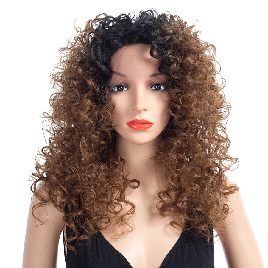 Bling Hair Products Curly Wig Heat Resistant Synthetic Lace Front Wig With Natural Hairline for Woman