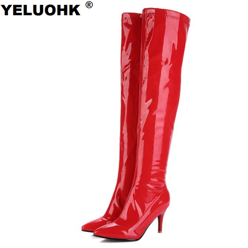 New Pointed Toe Patent Leather Boots Women Shoes Sexy Sexy Thigh High Heel Winter Over Knee Boots Women Pumps Large Size new fashion women shoes pointed toe patent leather lady high heel boots for women sexy over the knee boots nightclub pumps