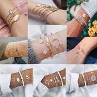 Nowy 4 sztuk/zestaw urok romantyczny różowy kryształ otwarty mankiet bransoletki/zestaw bransoletek dla kobiet złoty metal ze stopu strzałka Link Chain Twist bransoletka