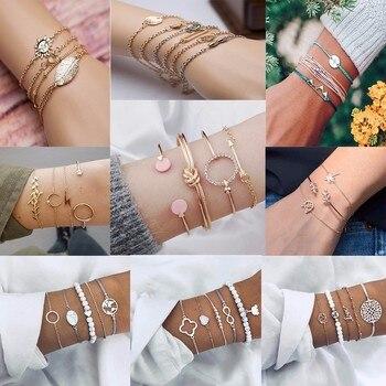 Nouveau 4 pièces/ensemble breloque romantique rose cristal ouvert manchette bracelets/Bracelet ensemble pour femmes or métal alliage flèche lien chaîne torsion Bracelet